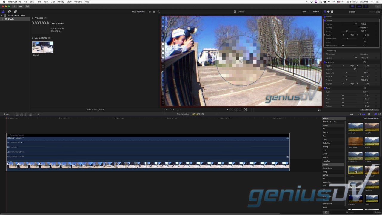 Drawing Lines In Final Cut Pro : Final cut pro censor effect youtube