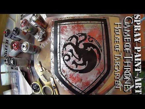 SPRAY PAINTING ART Targaryen House Banner GAME OF THRONES - YouTube