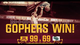 Highlights: Gopher Men's Basketball Opens 2020-21 with 99-69 Win over Green Bay