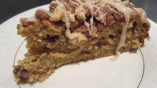 Pumpkin Coffee Cake W Walnut Streusel Topping & Brown Butter Maple Glaze