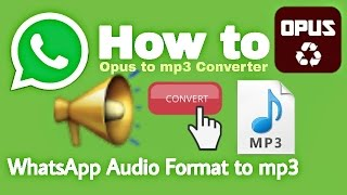 Gambar cover How to Convert WhatsApp Audio Format to mp3 | Opus to mp3 Converter