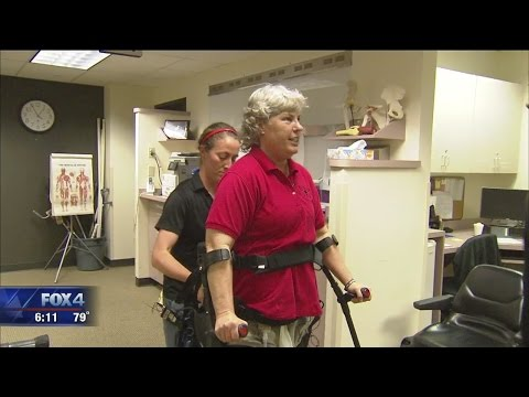 Paralyzed Fort Worth Police officer learns to walk with new tech