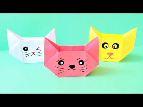 Origami cat box .Easy paper crafts without glue.  Easy Paper Crafts 777