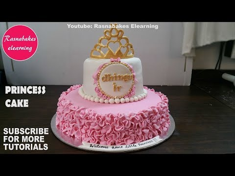 princess-first-birthday-cake-for-girls-gold-crown-tiara-topper-pink-dress-design-ideas-decorating