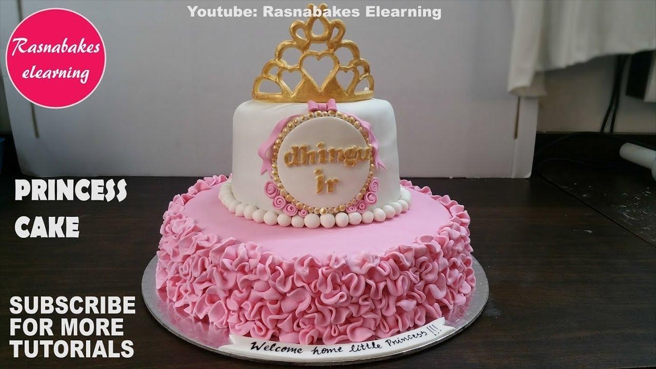 Princess First Birthday Cake For Girls Gold Crown Tiara Topper Pink