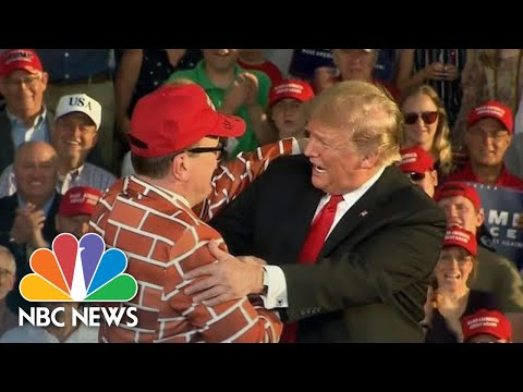 President Donald Trump Brings Man In A 'Wall Suit' On Stage At Pennsylvania Rally | NBC News
