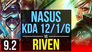 NASUS vs RIVEN (TOP) | KDA 12/1/6, Legendary | EUW Diamond | v9.2