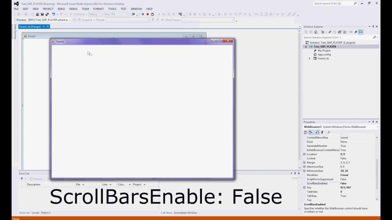 Visual Studio 2012 - Create Swf Player (Tutorial)
