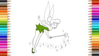 How to draw Disney Tinker Bell Colouring Page Drawing Disney Fairy