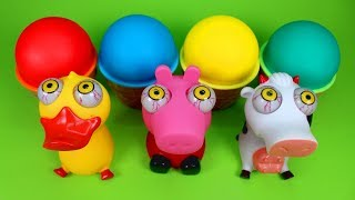 4 Color Play Doh Ice Cream Surprise Cups Funny Peppa Duck Cow Squishy Toys Surprise Eggs Blind Bags
