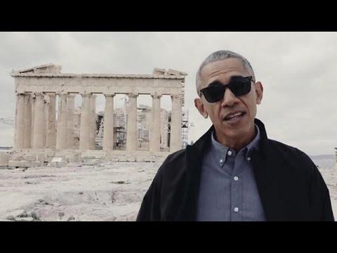 Barack Obama Tours Acropolis - Parthenon Athens, Greece