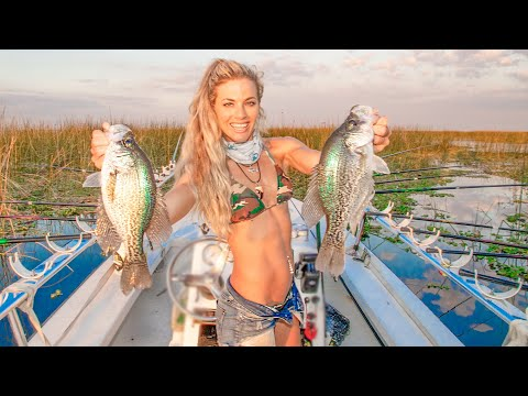GIANT CRAPPIE Fishing With 15+ Fishing Rods! HOW TO Catch Crappie Lake Okeechobee, FL