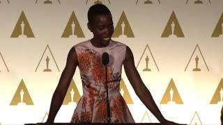 Repeat youtube video Lupita Nyong'o at the 86th Oscars® Nominees Luncheon