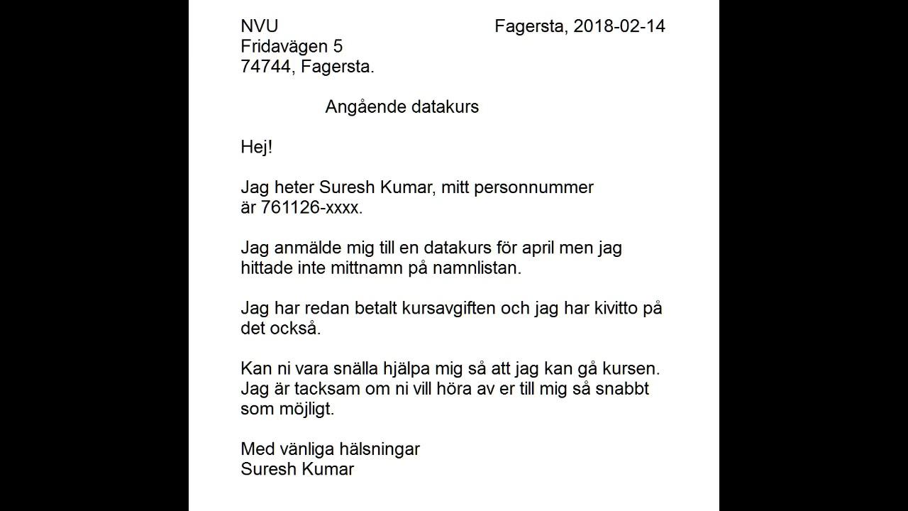 formelt brev svenska