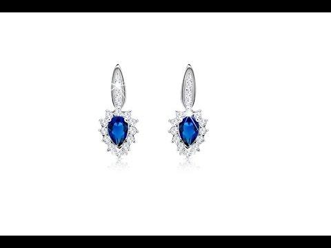 Jewellery - 925 silver earrings - blue zircon, clear bordering