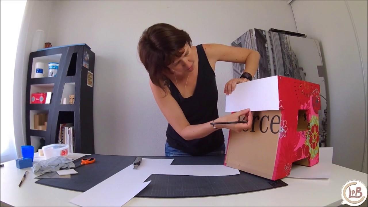 Tuto gratuit d corer un meuble en carton avec du tissu enduit 1 2 youtube - Decorer un meuble ...