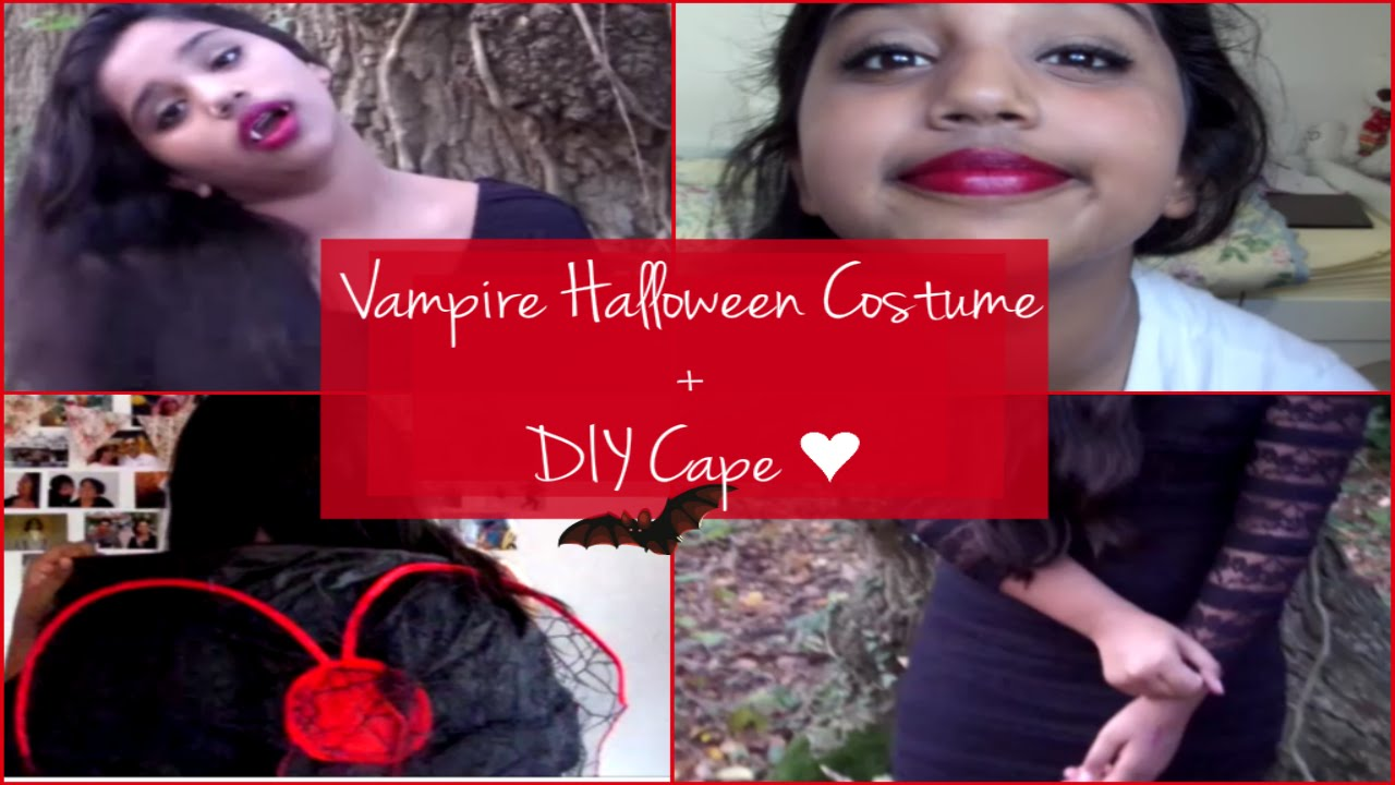 sc 1 st  YouTube & Vampire Halloween Costume ? My Makeup Outfit + DIY Cape - YouTube