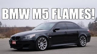 bmw m5 v10 shooting flames launch exhaust