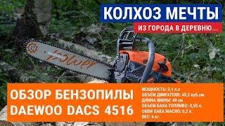 Обзор цепной бензопилы (Chainsaw) Daewoo DACS 4516. Бензопила в деревне. Заготовка дров бензопилой!