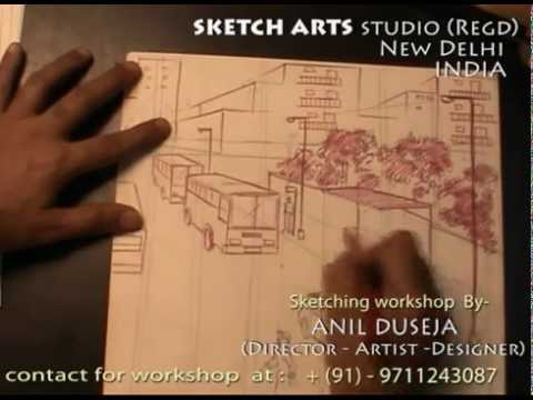 sketching-tutorial-part-21,-bus-stand-from-first-floor,-sketching-workshop-for-india-&-abroad