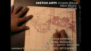 sketching tutorial part 21, bus stand from first floor, sketching workshop for India & Abroad