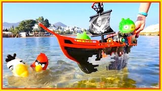 Angry Birds attack Evil PIRATE PIGS! - Toy stories for kids - Toy Videos for Children