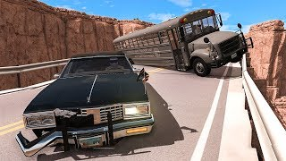 Collapsing Bridge Pileup Car Crashes 23 - Beamng Drive  Smashchan