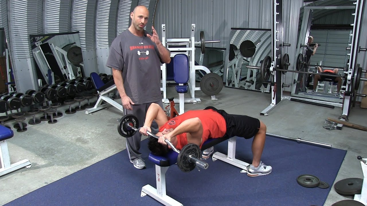 Lying Barbell Or Ez Bar Triceps Extension Youtube