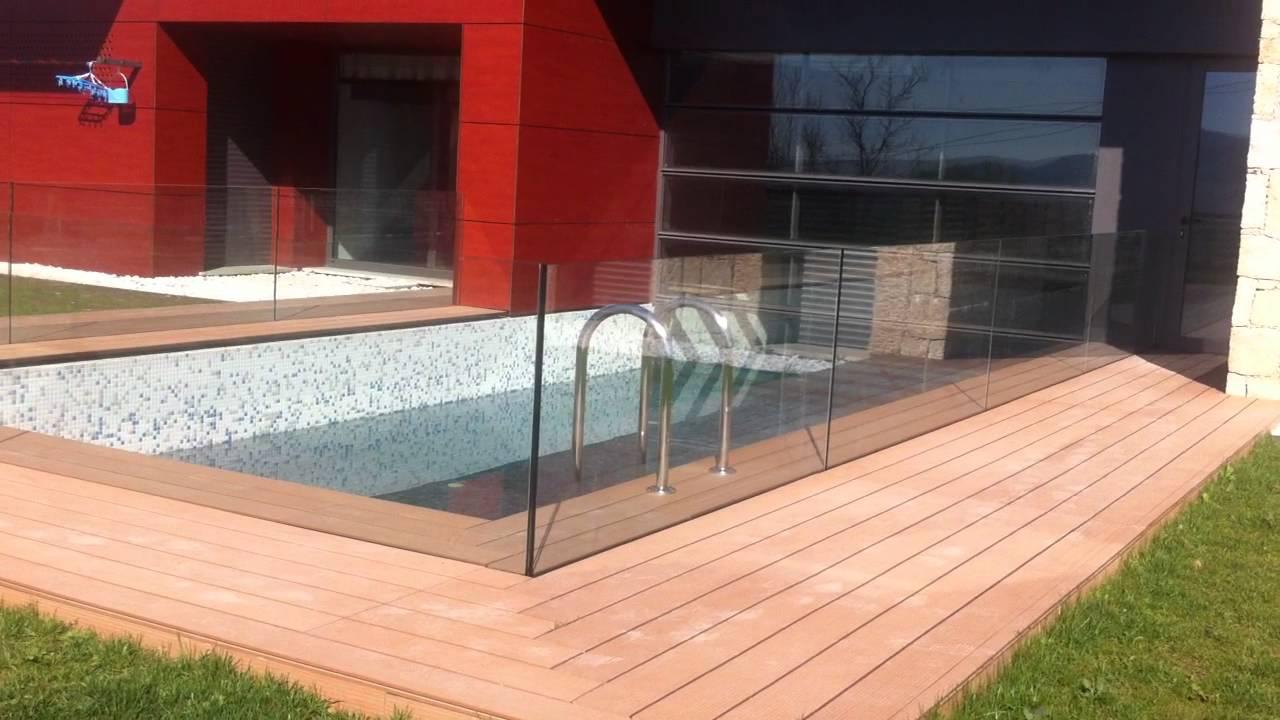 Prote o em vidro para piscina parte 3 youtube for Piscinas semienterradas
