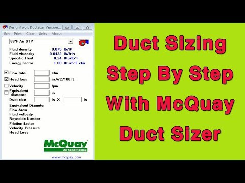 Duct Sizing Step By Step With McQuay Duct Sizer - YouTube