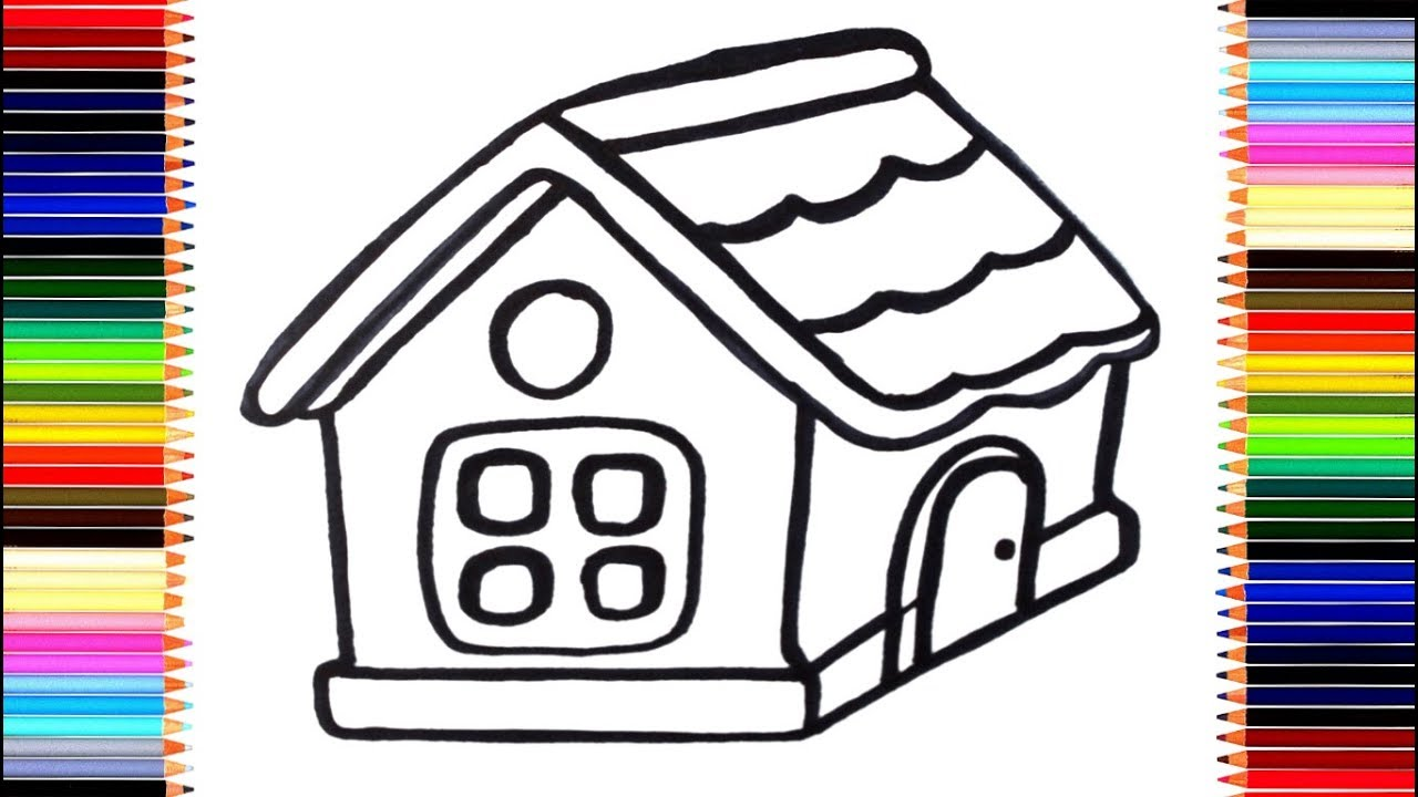 Как нарисовать дом/ мультик раскраска домик для детей ...