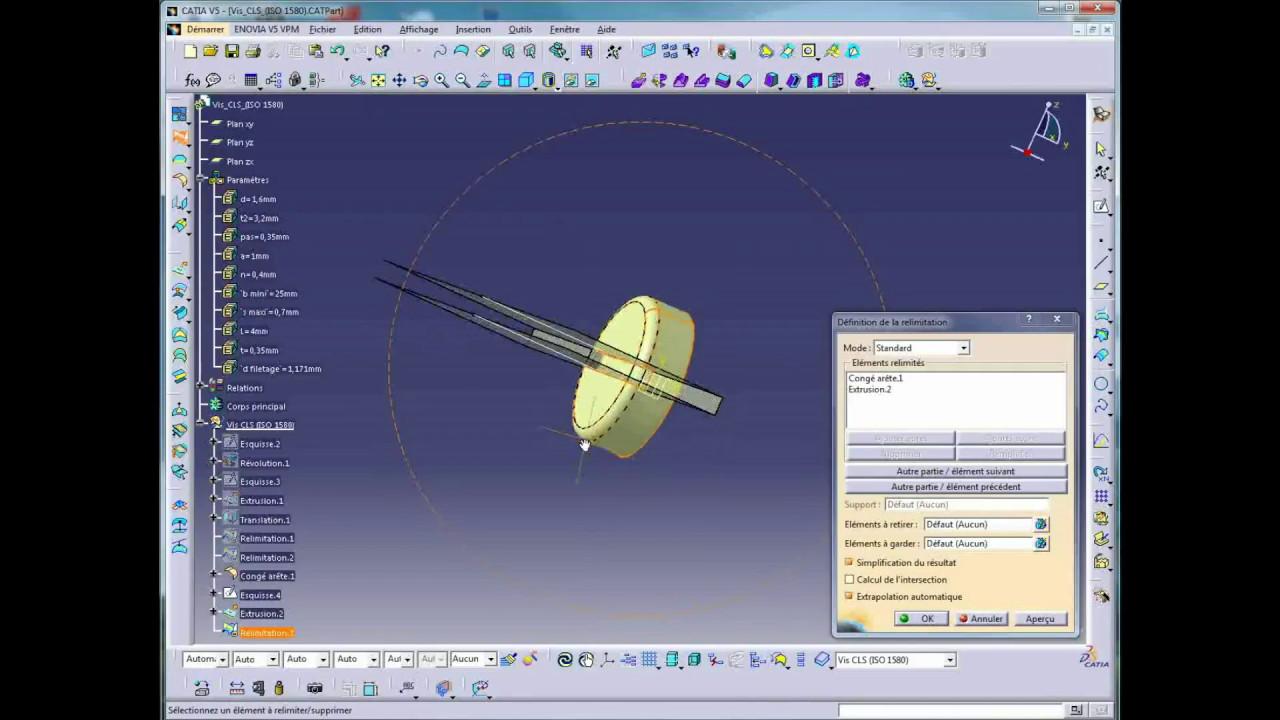 Exemple catalogue vis CLS (ISO 1580) sous Catia V5 R20