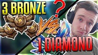 REDMERCY (D1) VS 3 BRONZE PLAYERS (1v3) WHO WINS?? - League of Legends