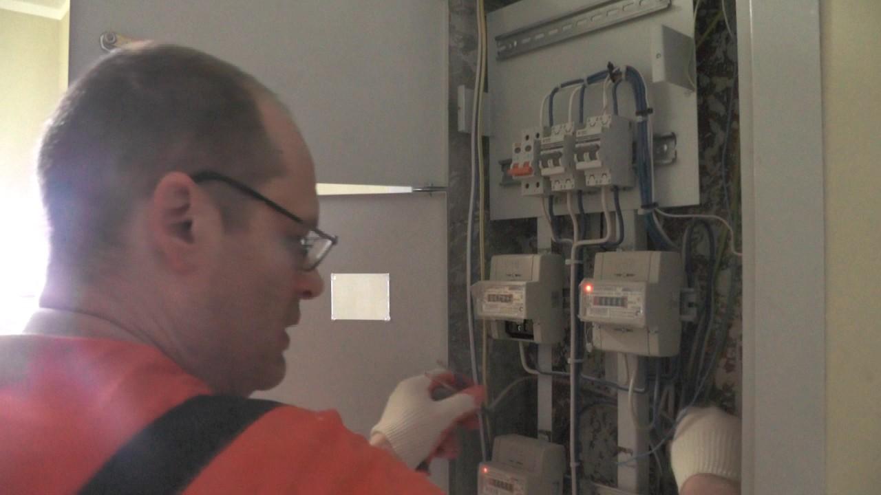 Электромонтаж в квартире , ввод  выключатель нагрузки