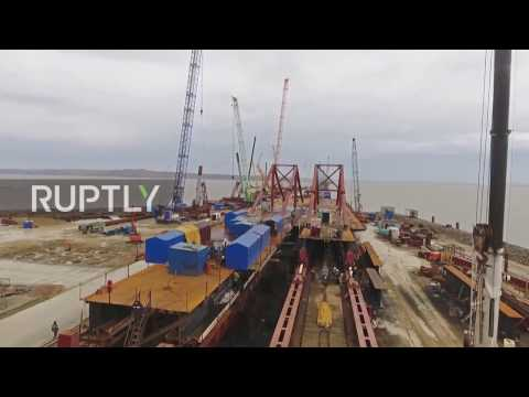Russia: Cross-sea sections of the Kerch Strait Bridge laid down