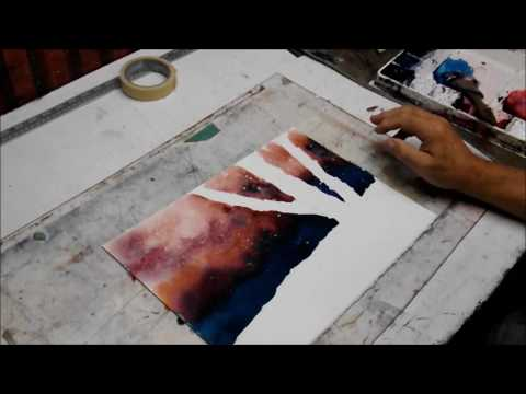 How to paint birch trees in winter with watercolor