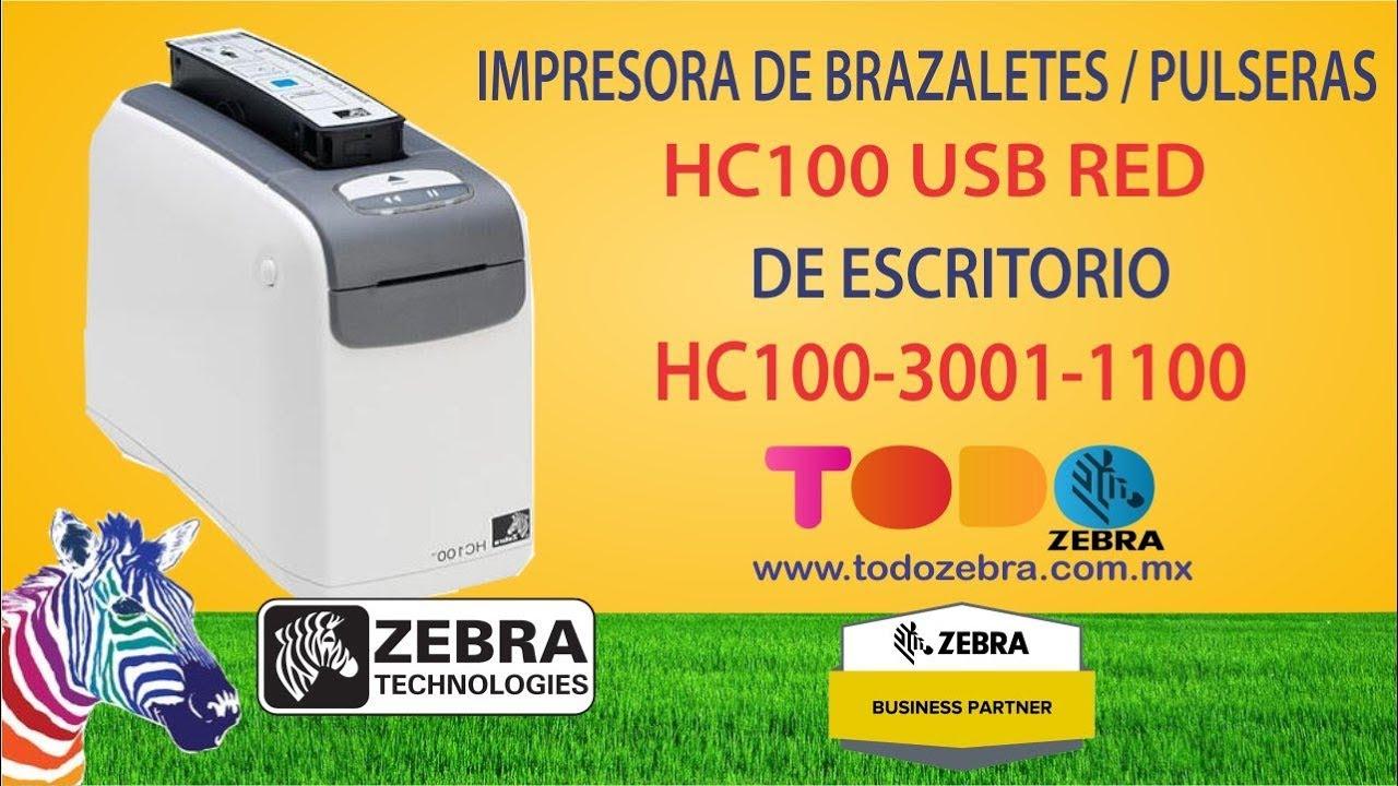 06e764fe3f95 Impresora de Brazaletes ZEBRA HC100 TD USB RED Pulseras