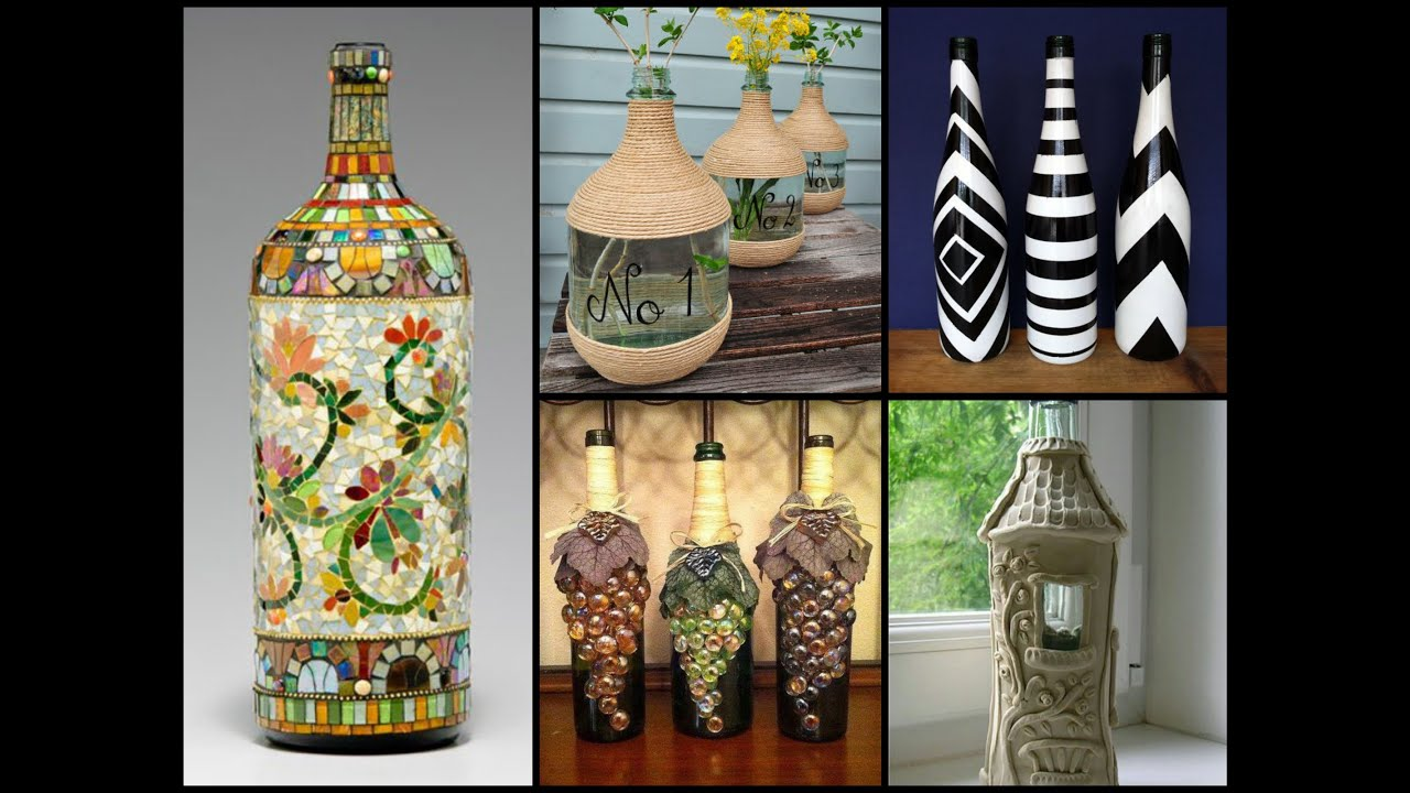 50 beautiful bottle decorating ideas diy recycled room decor youtube - Designs in glasses for house decoration ...