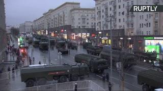 Проезд военной техники по Тверской на репетицию парада Победы