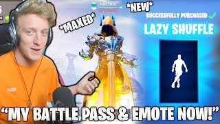 TFUE Reacts & BUYS *NEW* 'Lazy Shuffle' EMOTE & MAXED BATTLE PASS! (Fortnite Moments)