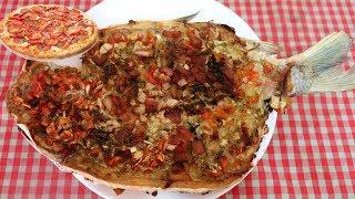 Como fazer Peixe Pizza Recheado e Gratinado Delicioso