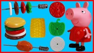 粉紅豬小妹佩佩豬的燒烤廚房玩具,烤雞肉漢堡玉米啦!
