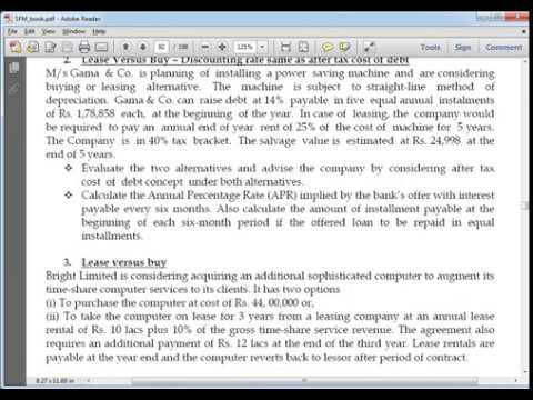 CA Final - SFM - Old syllabus - Leasing - Part Two
