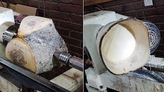 Woodturning a Green Apple Bowl, a Natural Edged Indulgence