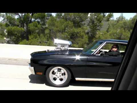 Chevrolet Chevelle with a blown 572 on the road