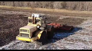 Трактор Кировец Дискование стерни подсолнечника Несколько дней в одном видео