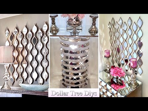 DIY A MIRROR WALL AND TABLE USING ONLY DOLLAR TREE ITEMS! DIY HOME ON A BUDGET!