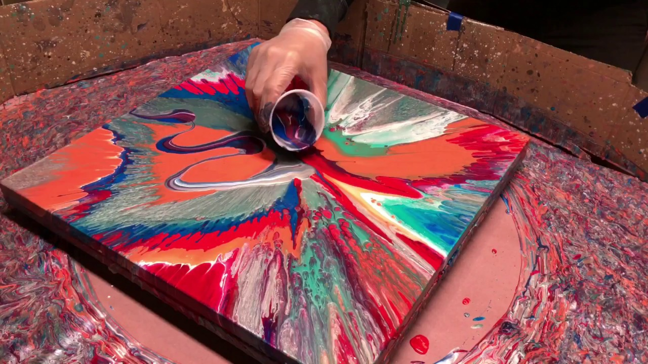 5619450ceb0d20 Fluid Painting on a New Level!! Acrylic Pour Painting using a Spin Table    You gotta see this one!!