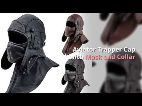 0c6ce9aec Genuine Leather Aviator Trapper Cap with Mask and Collar