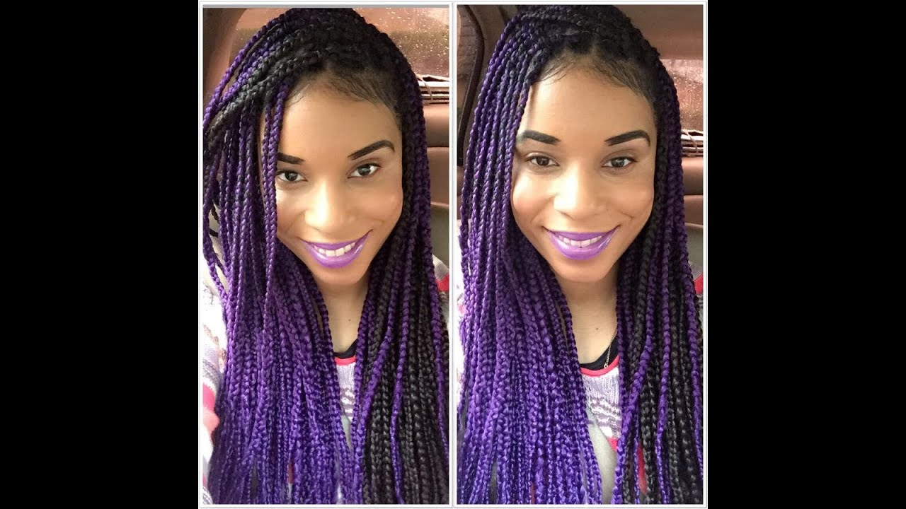 Purple Box Braids Maintenance - YouTube